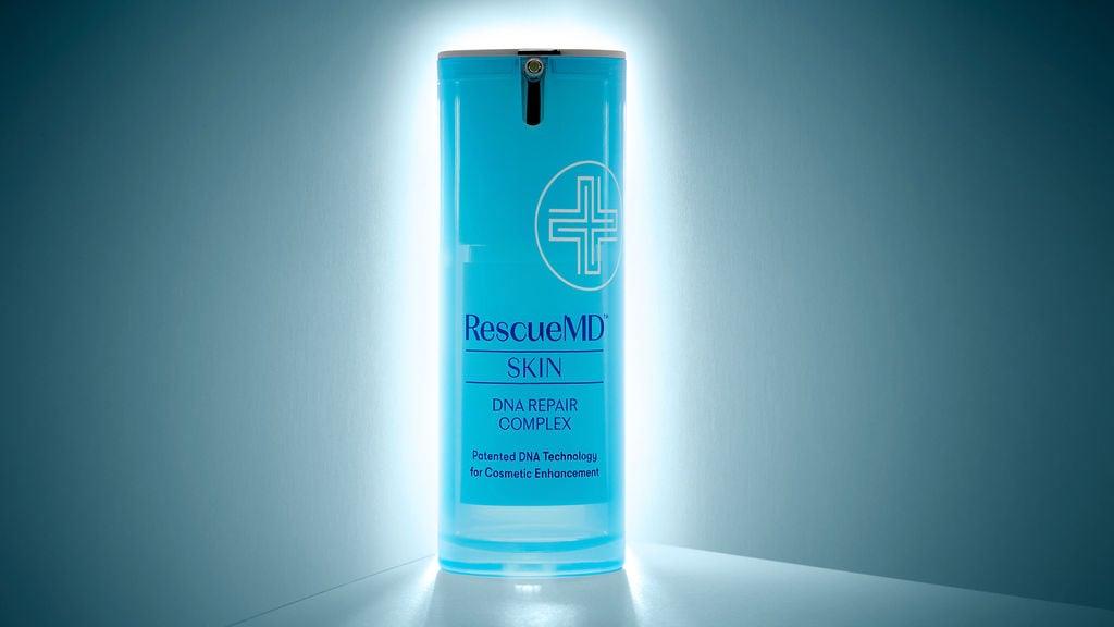 image of backlit rescuemd skin dna repair complex bottle