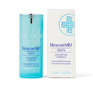 Image of RescueMD Skin DNA Repair Complex bottle and carton packaging